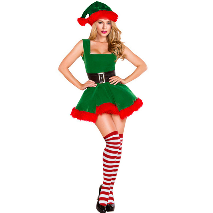 Women's Sexy Adult Elf Christmas Costume with Stockings XT15097