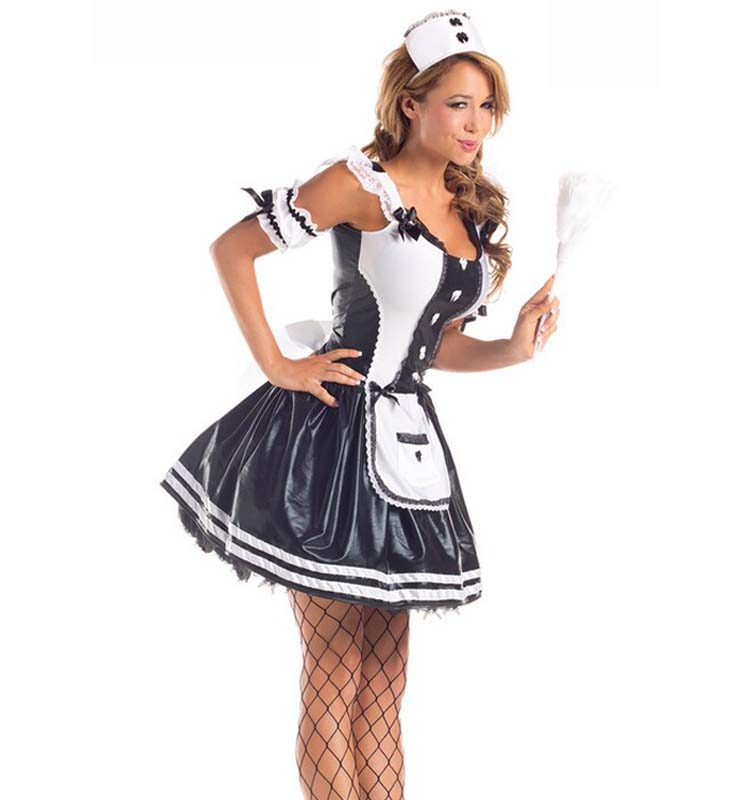 sexy adult maid halloween costume n9842. Black Bedroom Furniture Sets. Home Design Ideas