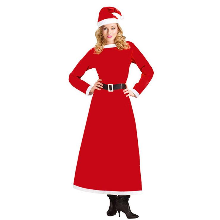 Women's Adult Santa Claus Sweetie Long Dress Christmas Costume XT15186