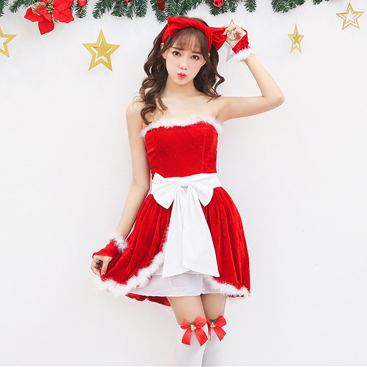 Women's Adult Santa Mini Dress Christmas Costume XT15258