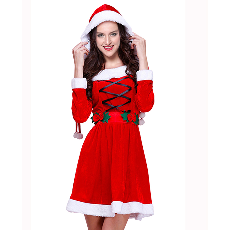 Women's Adult Long Sleeve Christmas Santa Claus Cosplay Costume XT15027