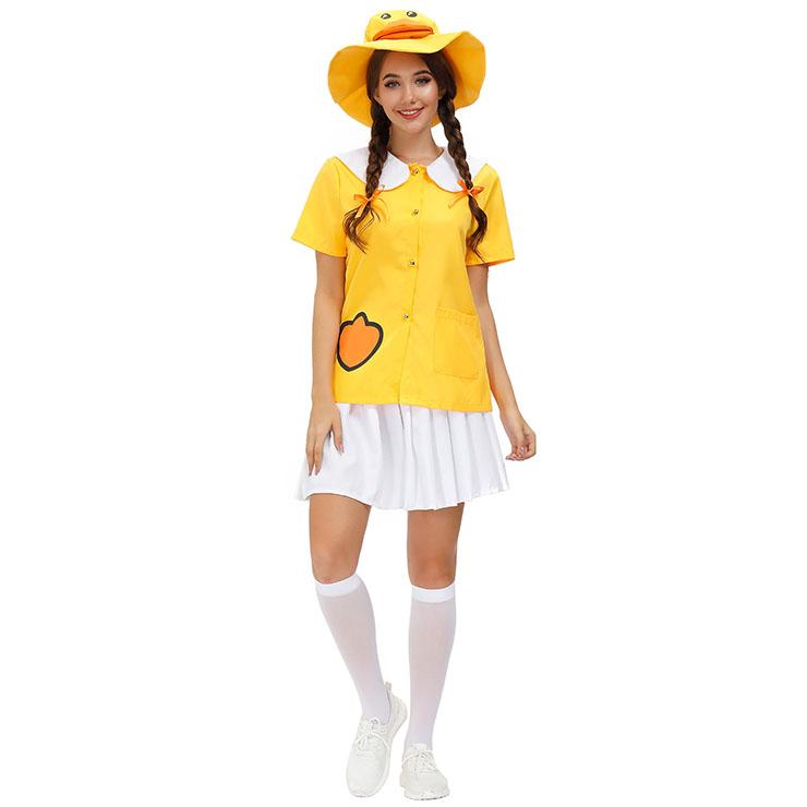 5Pcs Women's Cute Little Yellow Duck Short Sleeve Tops Skirt Suit Adult Cosplay Costume N20802