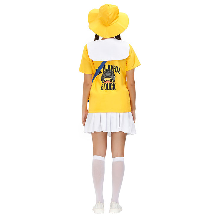 Tops and Mini Skirt Set, Classic Little Yellow Duck Costume, Adult Cosplay Costume, Sexy White Skirt Set Costume, Sexy Halloween Cosplay, Adult Little Yellow Duck Role Play Costume, Little Yellow Duck Top and Skirt Set, #N20802