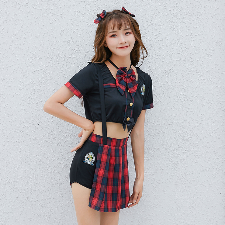 4pcs Naughty School Girl Crop Top Checkered Braces Pleated Skirt Adult Cosplay Costume N19470