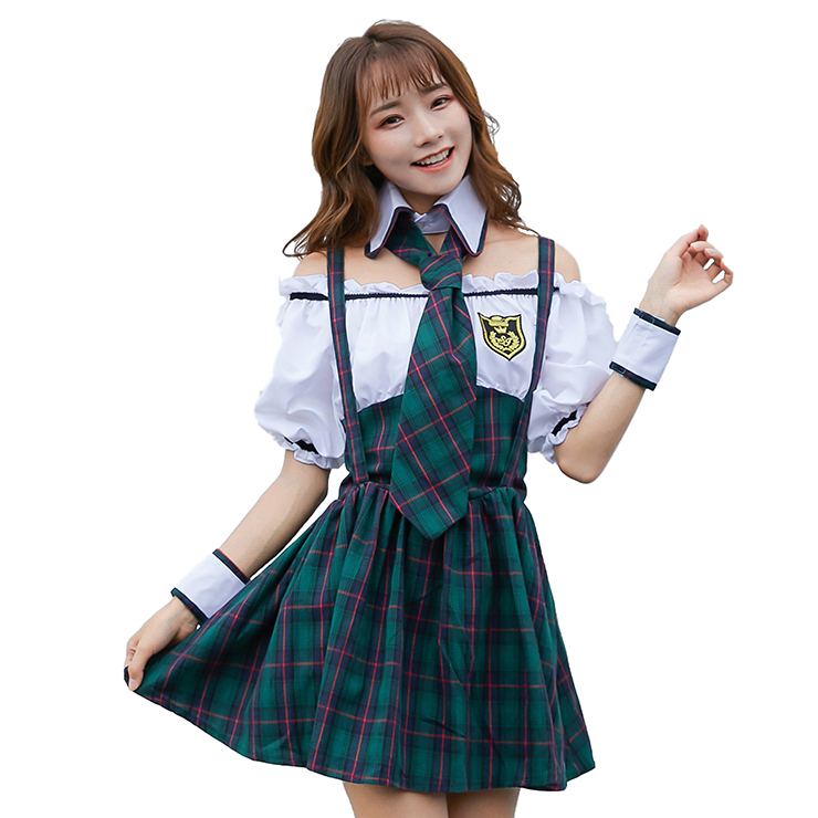 4pcs Pretty School Girl Off-shoulder Fake-two Pieces Checkered Dress Adult Cosplay Costume N19472