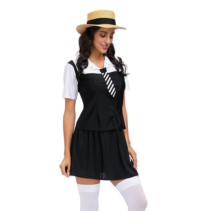 Midriff Shirt and Mini Skirt School Gilr Set, Classic School Girl Costume, Bad Student Cosplay Costume, Sexy Black Skirt Set Costume, Sexy School Uniform Cosplay, Adult School Girl Role Play Costume, Bad School Girl Crop Top and Skirt Set, #N20600