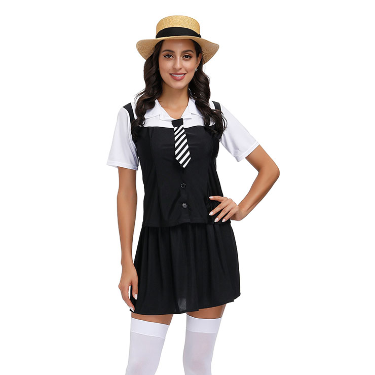 3Pcs Classic School Girl Short Sleeve Fake-two Tie Tops And Skirt Adult Cosplay Costume N20600