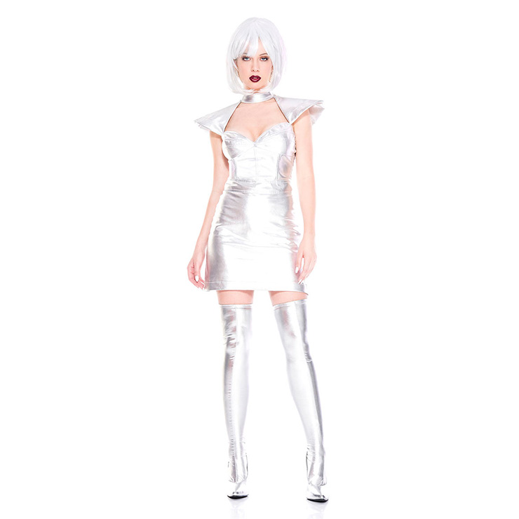 Sexy Silver Metallic Space Girl Wet Look Mini Dress Adult Cosplay Halloween Costume N19094