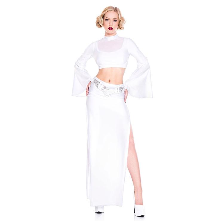 Sexy Adult Wars Flim Princess White Crop Top and Slit Long Skirt Cosplay Halloween Costume N19093