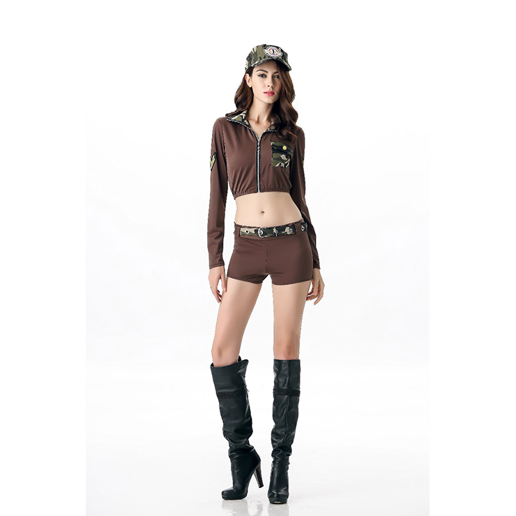 Camouflage GI Girl Costume, Sexy Soldier Costume, Army Military Camouflage Costume, #N11687