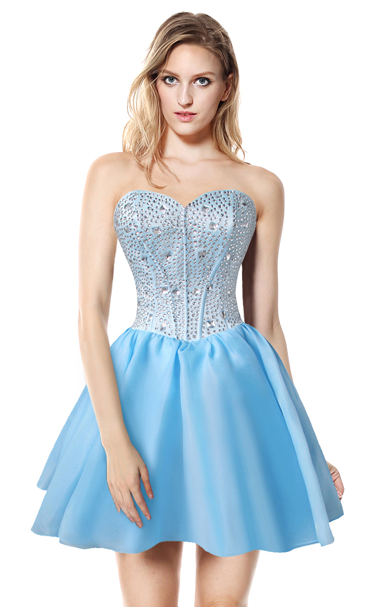 2017 Sexy Baby-Blue A-line Sweetheart-neck Crystal Short ...