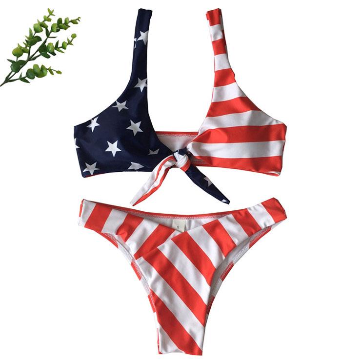 Sexy Bandage Type Bra Top Flag Pattern Beachwear Bikini Set BK17979