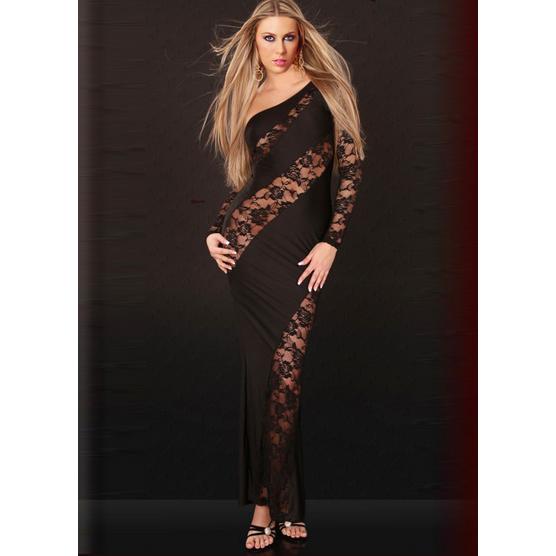 Asymmetric Cut Out Gown Black N2829