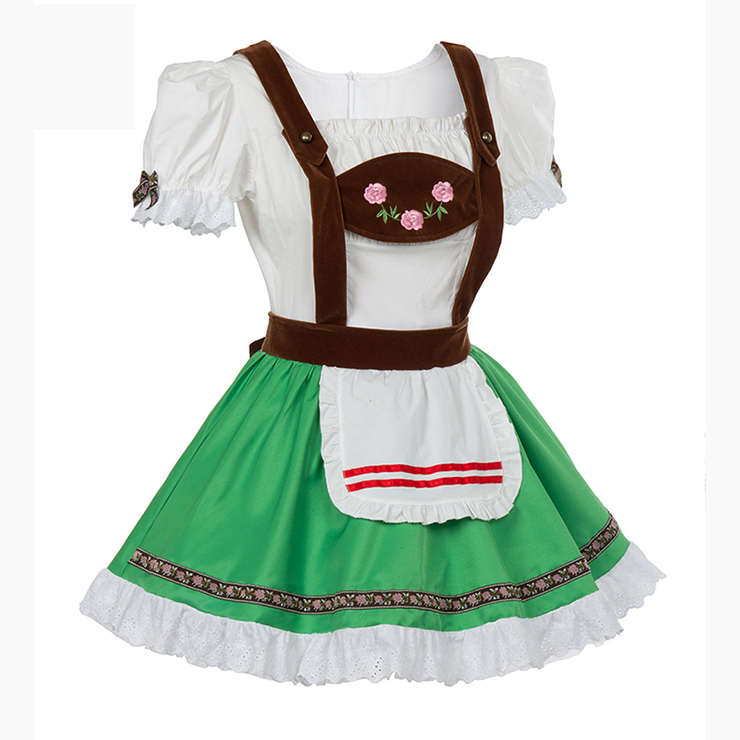 German Oktoberfest Beer Wench Costume, Fancy Beer Girl Costume, Milk Maid Costume, Halloween Costume, #N11906