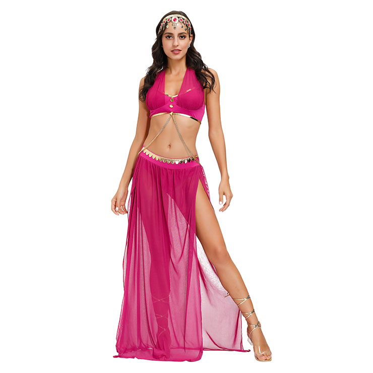 Sexy Rose-red Costume, Persia Style Dance Performace Costume, Women