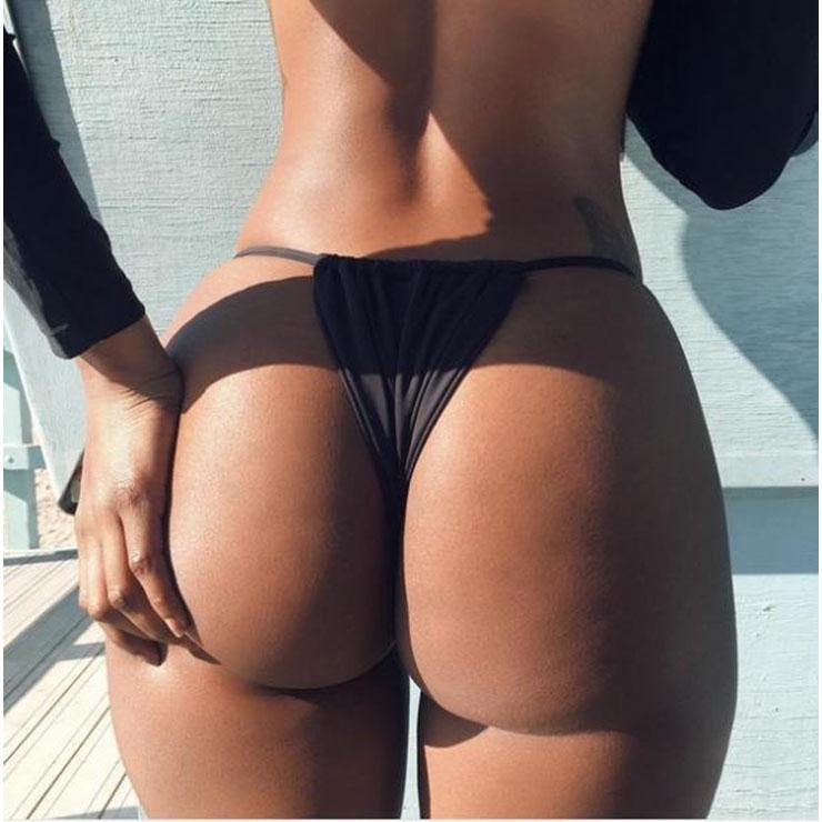 Sexy Black Thong, Sexy Beachwear G-string for Women, Black Elastic Beachwear Thong, High Waist G-string, Sexy High Waist Night Club Thong, #PT17479