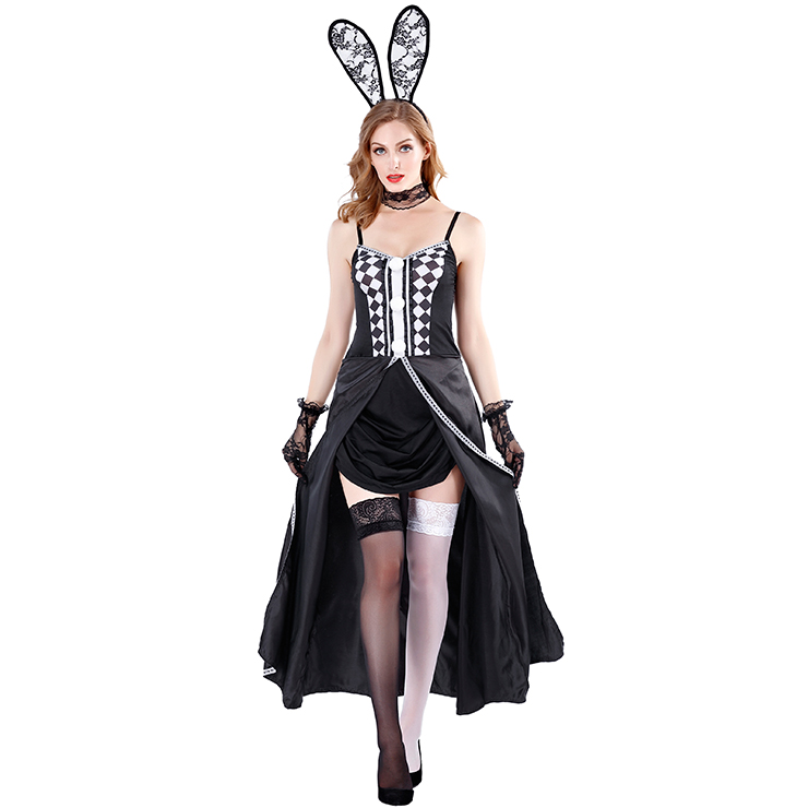 Sexy Bunny Girl Spaghetti Straps Checkered Front Slit Dress Adult Halloween Costume N19479
