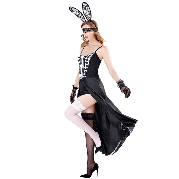 Sexy Bunny Girl Costume, Cheap Bunny Halloween Costume, Black Bunny Flirty Costume, Bunny Cosplay Costume, Plus Size Costume, #N19479