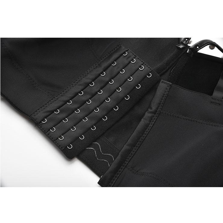Black Matt Metal Chain Shoulder Straps Bustier Bra, Crop Top Vegan Leather Bustier Bra, Faux Leather Bustier Bra, Sexy Bra Top, Sexy Black Bustier, #N21165