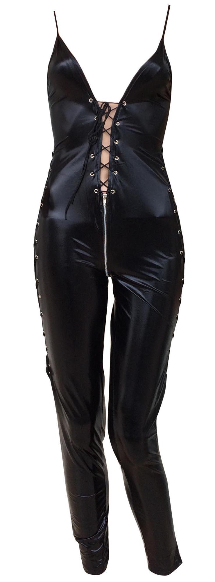 Black Criss Cross Bodysuit, Deep V Criss Cross Jumpsuit, Sleeveless Lace Up Catsuit, #N8507