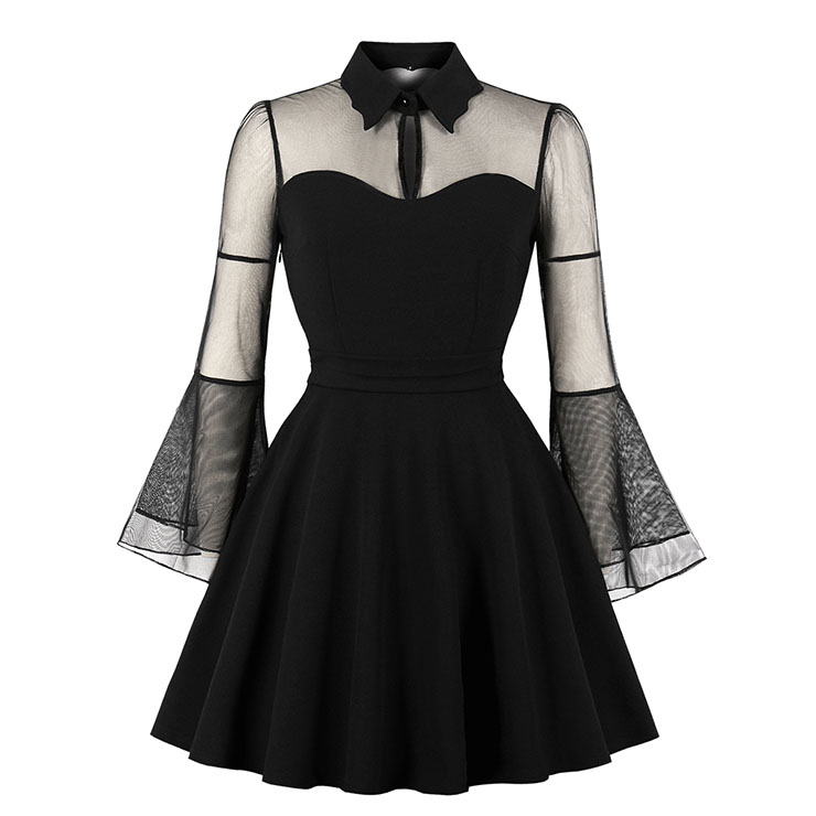 Gothic Black See-through Flare Sleeve Halloween Vampire Dress N17976