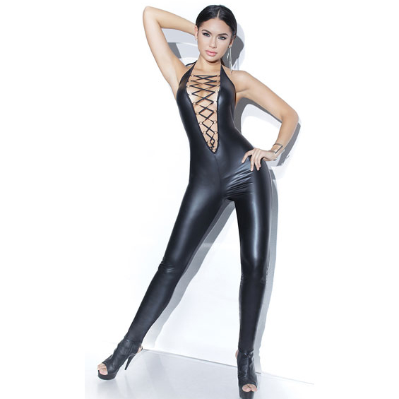 Sexy Black Halter Elasic Faux Leather Catsuit Lingerie N12628