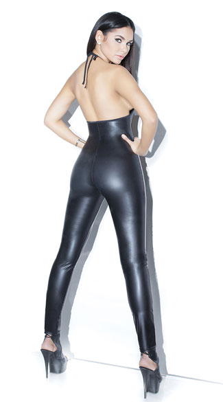 Sexy Catsuit for Women, Cheap Black Bodycon Jumpsuit, Gothic Punk Bodysuit, Faux Leather Catsuit, #N12628