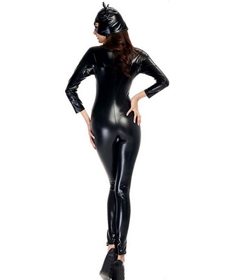 Sexy girls black leather body suits