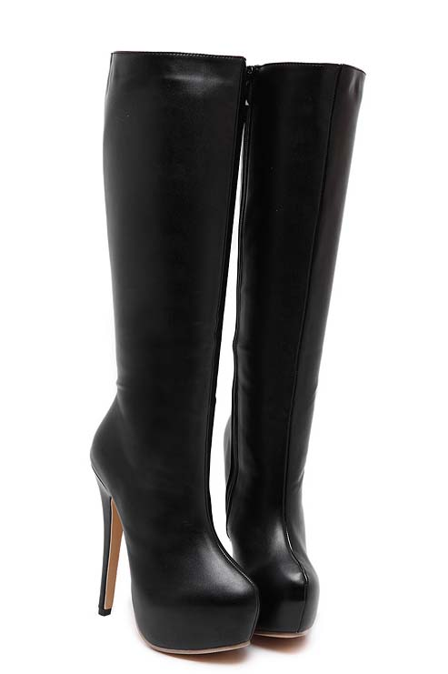 black faux leather knee high high heeled boots swb20380