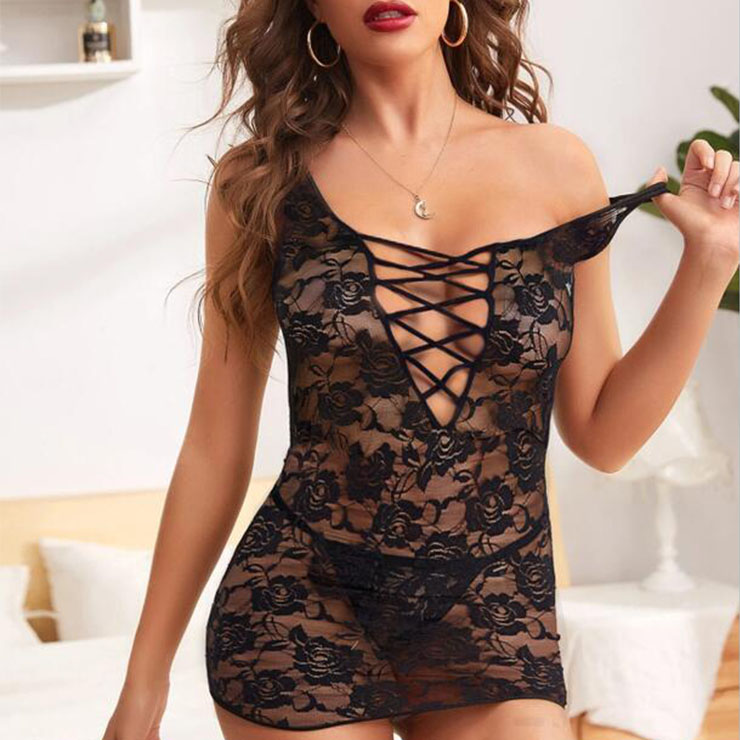 Sexy Black Floral Lace Backless Stretch Tight Babydoll Lingerie Bodycon Mini Dress N20825