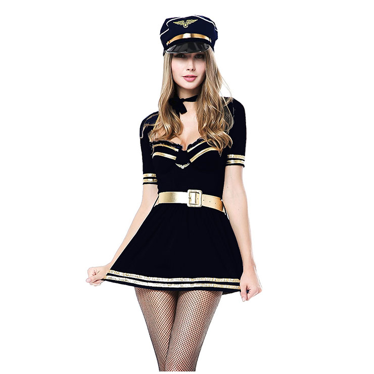 5Pcs Sexy Black-gold Policewoman Uniform Adult Overbust Mini Drees Cosplay Costume with Hat N18355