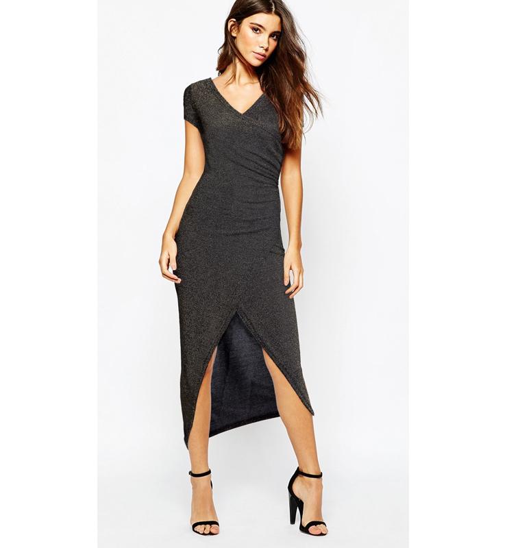 Sexy Black-Gold Split-front Short Sleeves Bodycon Dress N11044