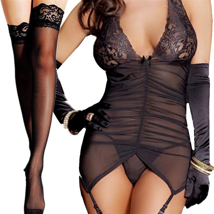 Plus Size Mesh Lingerie, Sexy Black Chemise Lingerie, Cheap Fashion Chemise Lingerie, Valentine