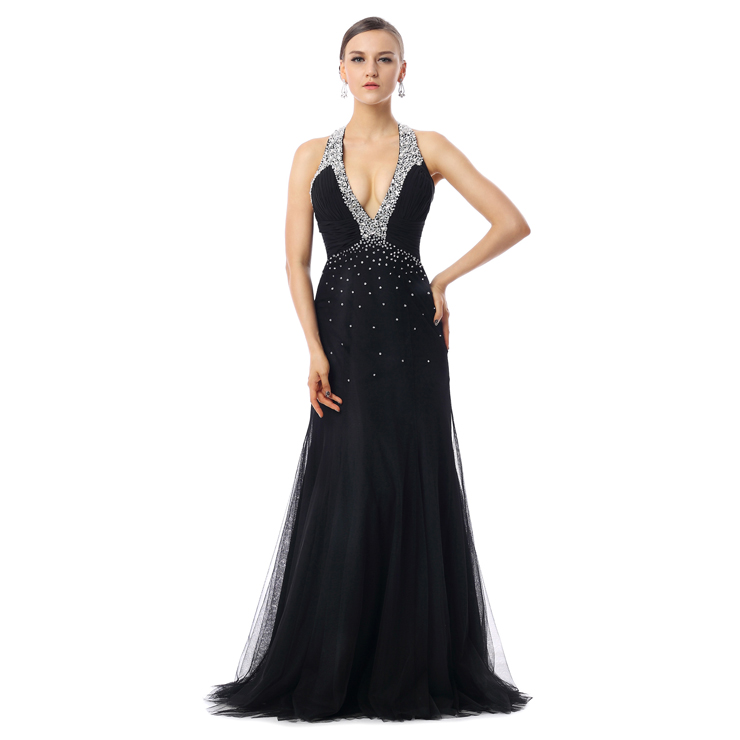 2016 Sexy Black Jewel Pleats Sleeveless Crystal Sweep Evening Dresses F30014
