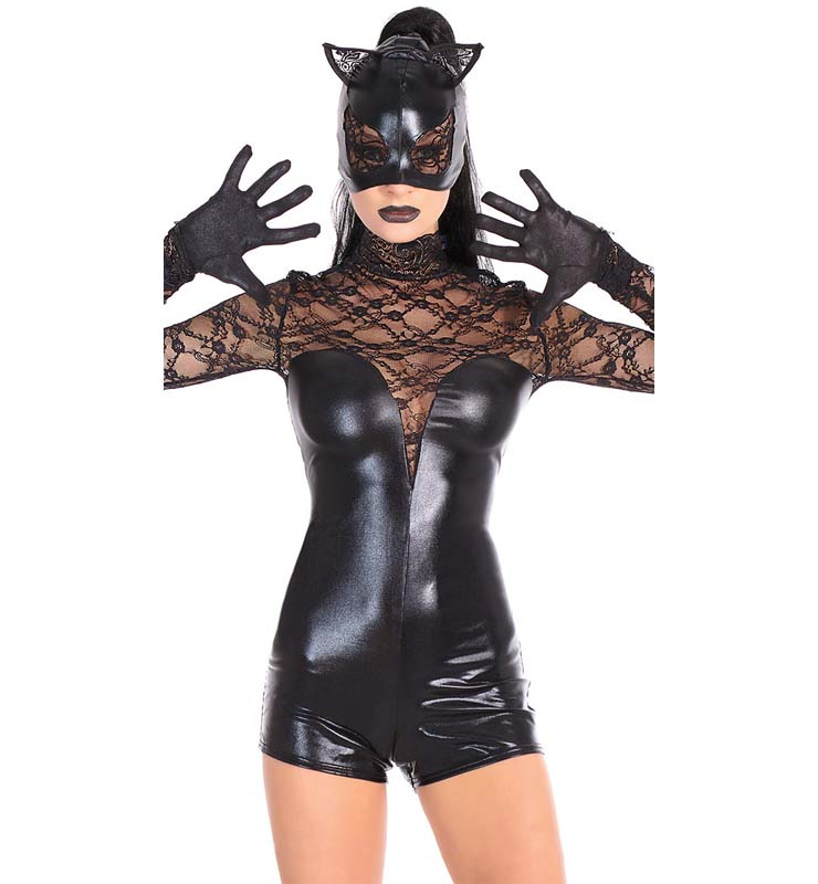 Sexy Black Lace Cat Costume N11057