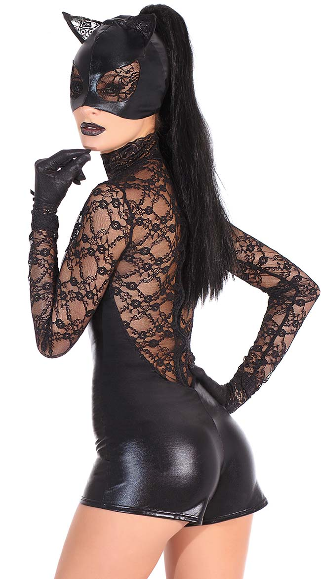 Black Lace and Wet Look Romper, Cheap Cat Halloween Costume, Black Cat Romper Women