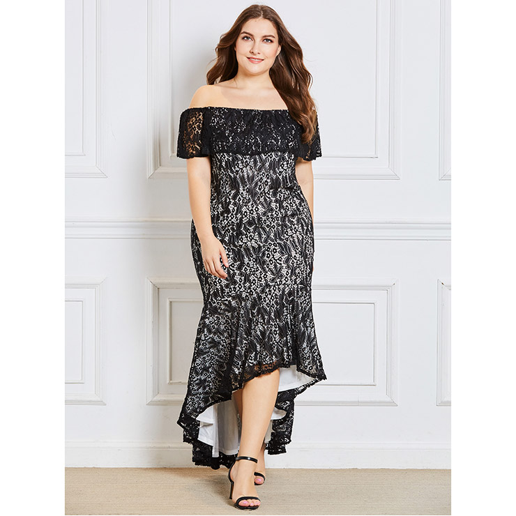 Womens Sexy Black Lace Off Shoulder Irregular Plus Size Dress N15350