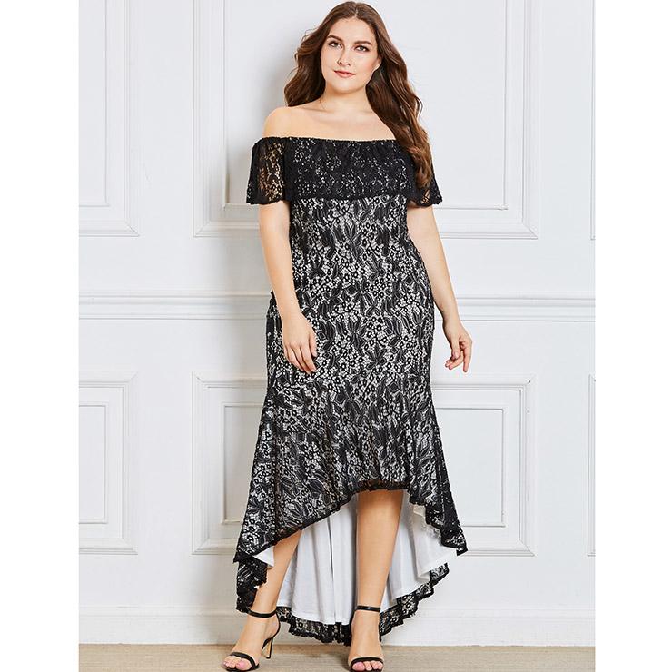 Womens Sexy Black Lace Off Shoulder Irregular Plus Size Dress N15350
