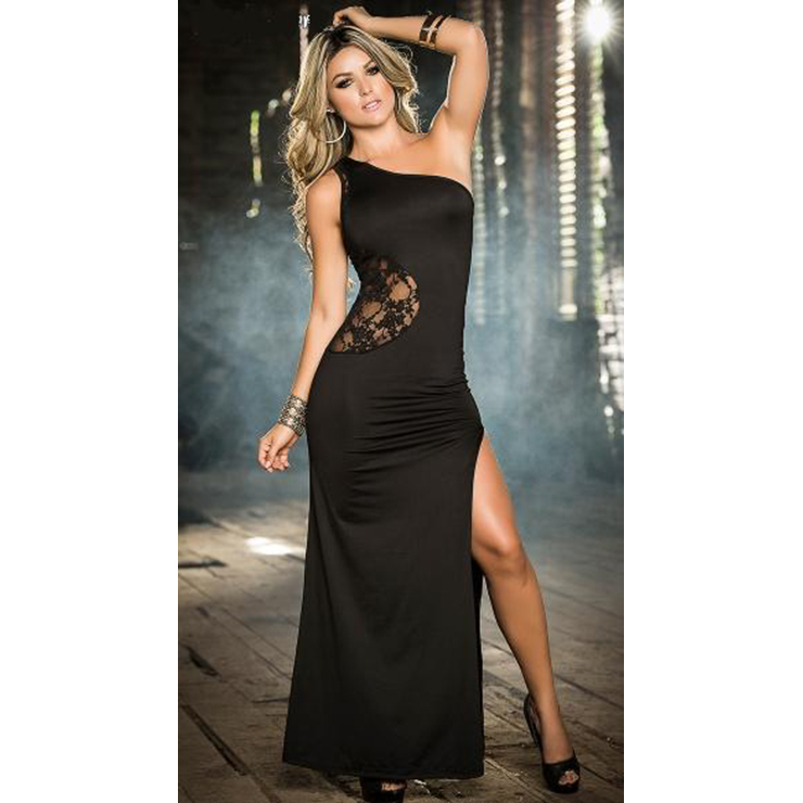 Sexy Black Lace One Shoulder Split Evening Dress N11982