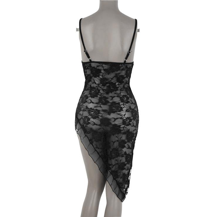 Lace Gown, Floral Lace Lingerie Dress, Black Lace Long Dress, Sheer Floral Lace Dress, #N16806