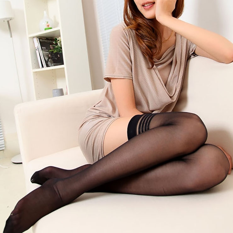 Black See-through Stockings, Sexy Thigh Highs Stockings, Black Sheer Thigh High Stockings, Plain See-through Thigh High Stockings, Stretchy Nightclub Knee Stockings, #HG17430