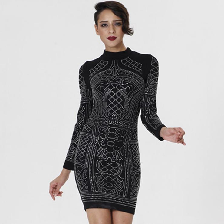 36279aa51616 Women's Sexy Black High Neck Long Sleeve Rhinestone Bodycon Mini Dress  N15226