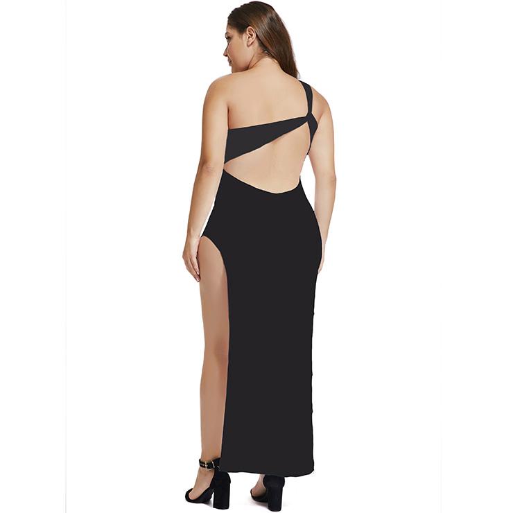 Sexy Black Long Gown, Cheap Black Clubwear Long Dress, Women