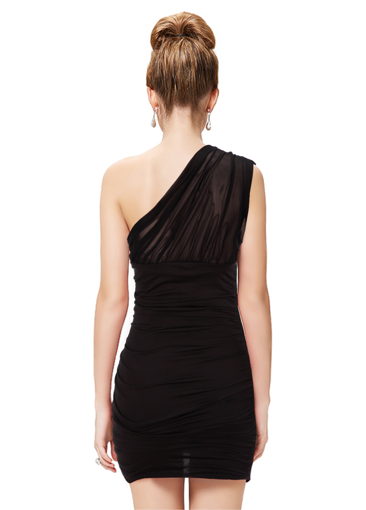 sexy black oneshoulder pleated club party mini dress n11161
