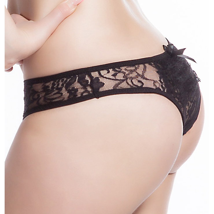 Sexy Black Thong, Sexy Lace Panty for Women, Black Elastic Lace Thong, Black Crotchless Lace Panty, Sexy Open Crotch Plus Size Thong, Sexy Black Lace Panty, #PT17504