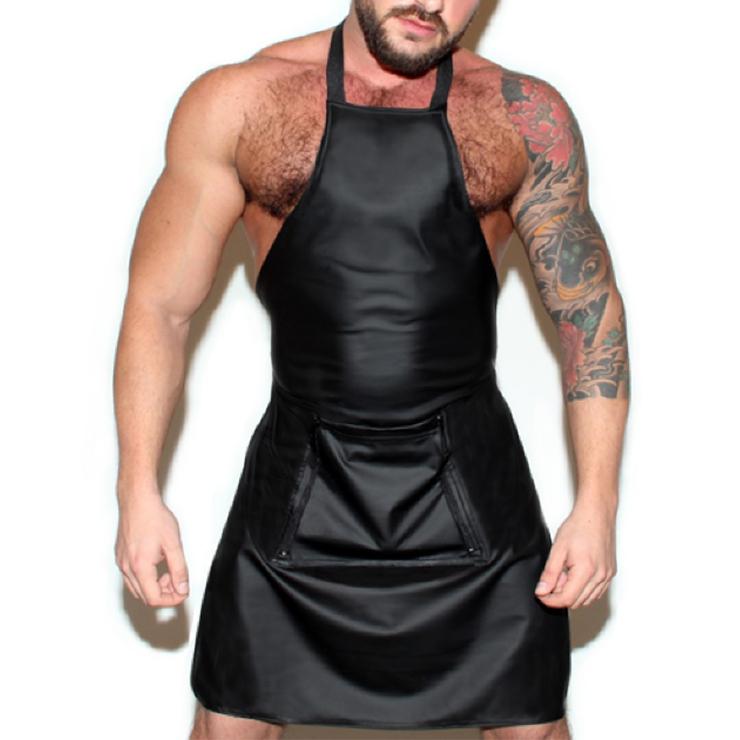 Men's Sexy Wet Look PVC Leather Apron BDSM Clothing Bondage Stretchy Clubwear Lingerie N20099