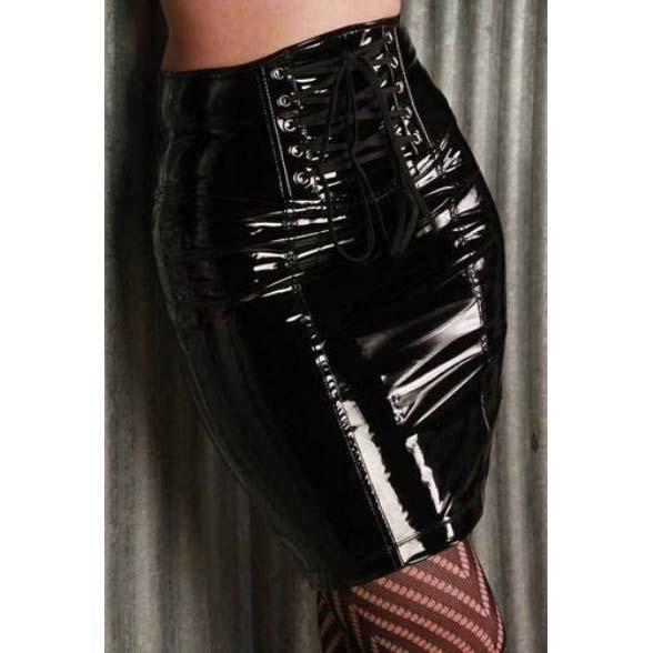 888a6b06f Sexy Black PVC High-waisted Lace-up Skirt HG11000