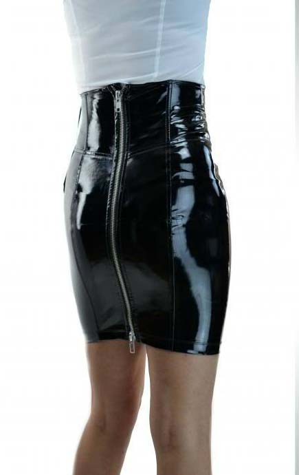 black pvc high waisted lace up skirt hg11000