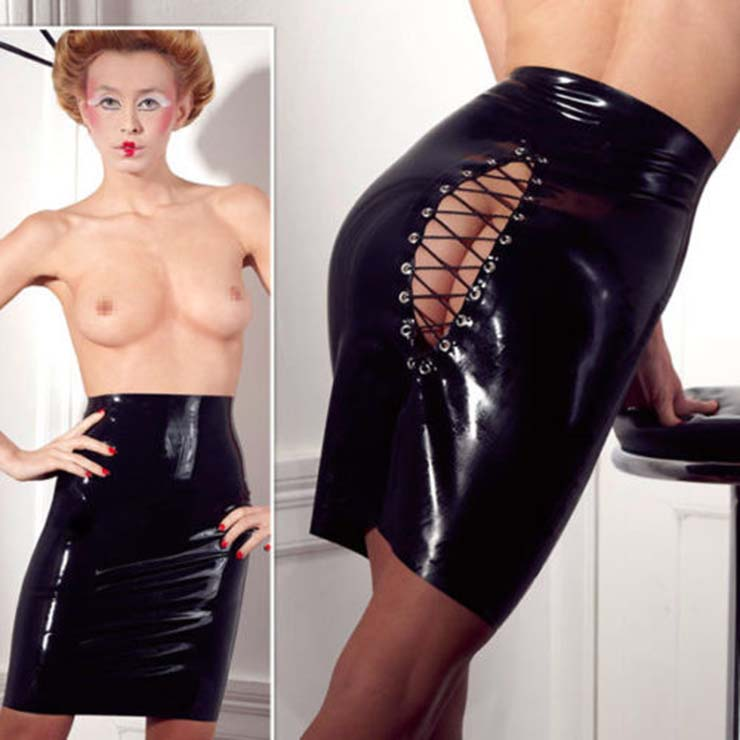 Black Faux Leather Skirt, Sexy Black PVC Skirt, Mini Skirt, Punk Black Skirt, Plus Size Skirt, Lace-up Skirt, #HG11464
