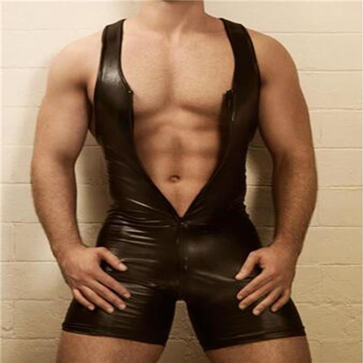 Men's Sexy Glossy PVC Tight-fitting Tank and Shorts Lingerie One-piece Stretchy Jumpsuit N19001